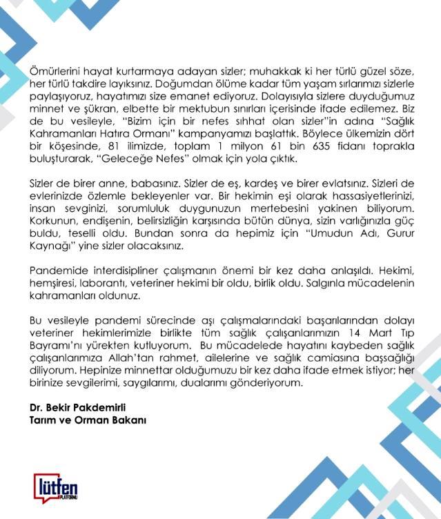 Bakan Pakdemirli'den sağlık çalışanlarına mektup